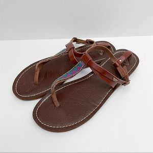 Roxy Boho Sandals Beaded and Embroidered Brown